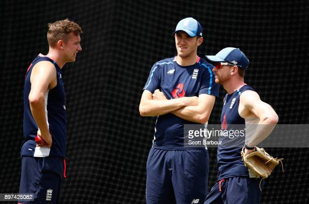 Jake Ball Craig Overton and Paul Collingwood of England look on during an England nets session at the Melbourne Cricket Ground on December 23 2017 in...