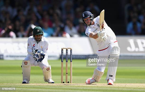 Jake Ball of England bats during day three of the 1st Investec Test between England and Pakistan at Lord's Cricket Ground on July 16 2016 in London...