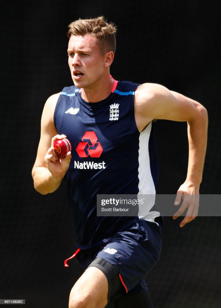 Jake Ball of England bowls during an England nets session at the Melbourne Cricket Ground on December 23, 2017 in Melbourne, Australia.