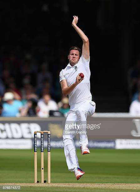 Jake Ball of England bowls during day three of the 1st Investec Test between England and Pakistan at Lord's Cricket Ground on July 16 2016 in London...