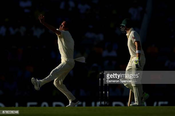 Jake Ball of England bowls during day two of the First Test Match of the 2017/18 Ashes Series between Australia and England at The Gabba on November...