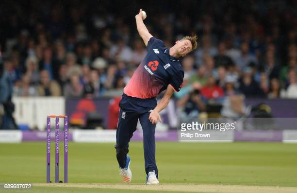 Jake Ball of England bowls during the 3rd Royal London oneday international cricket match between England and South Africa at Lord's cricket ground...