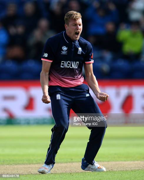 Jake Ball of England celebrates after dismissing Ross Taylor of New Zealand during the ICC Champions Trophy match between England and New Zealand at...