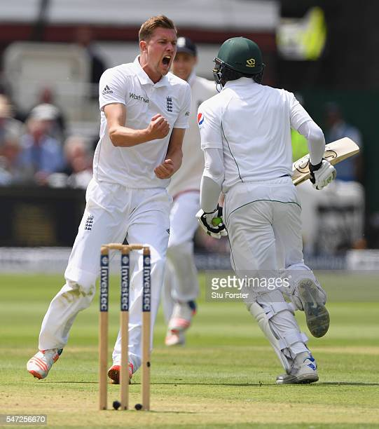 Jake Ball of England celebrates after taking his first test wicket that of Pakistan batsman Azhar Ali during day one of the 1st Investec Test match...