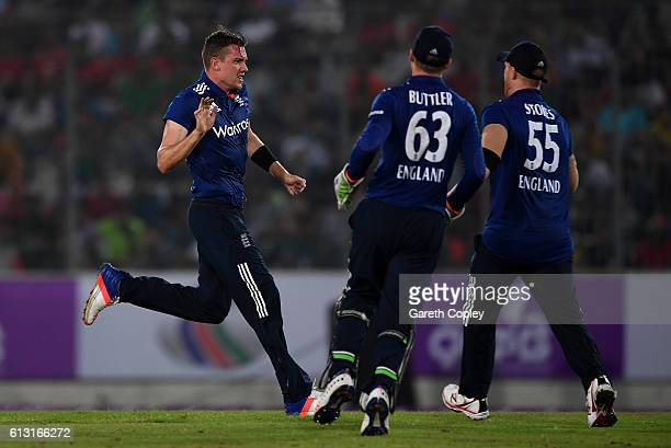 Jake Ball of England celebrates dismissing Mosaddek Hossain of Bangladesh during the 1st One Day International match between Bangladesh and England...
