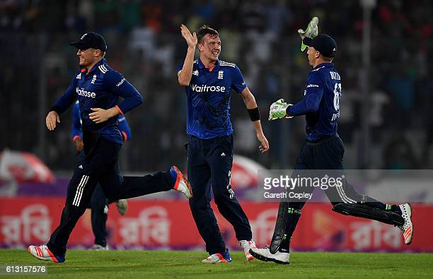 Jake Ball of England celebrates dismissing Sabbir Rahman of Bangladesh during the 1st One Day International match between Bangladesh and England at...