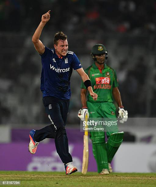Jake Ball of England celebrates taking the final wicket of Taskin Ahmed of Bangladesh to win the 1st One Day International match between Bangladesh...