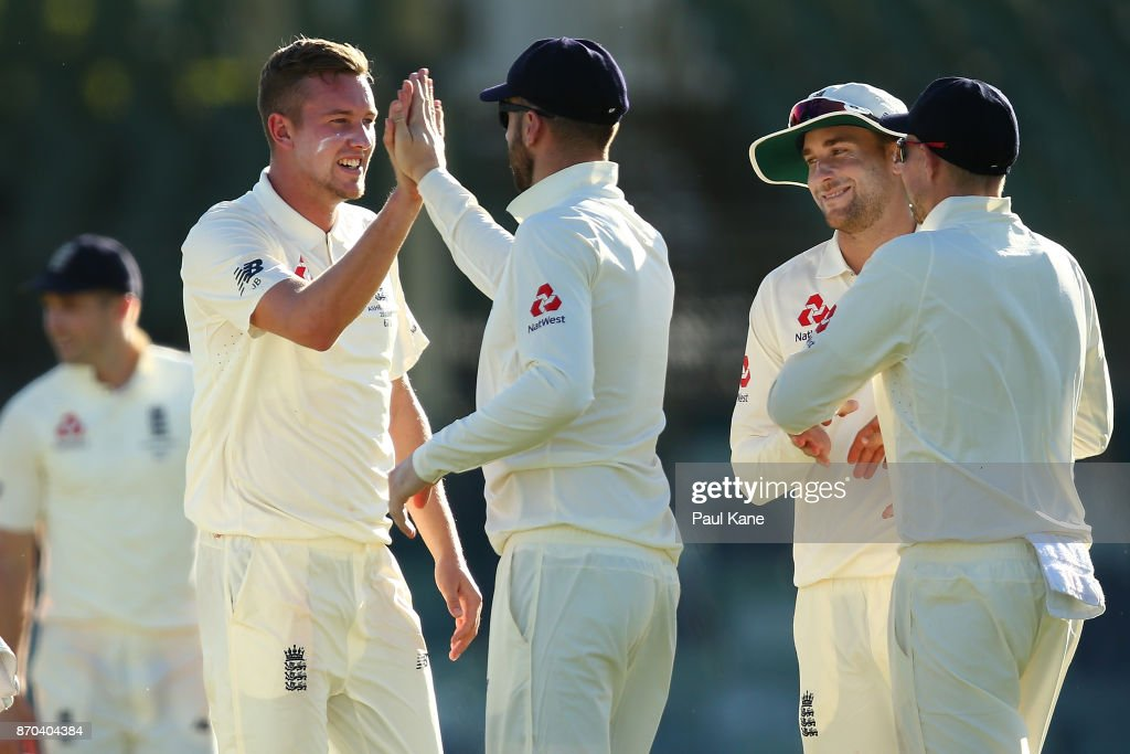 Jake Ball of England celebrates the wicket of Calum How of the WA XI during day two of the Ashes series Tour Match between Western Australia XI and England at WACA on November 5, 2017 in Perth, Australia.