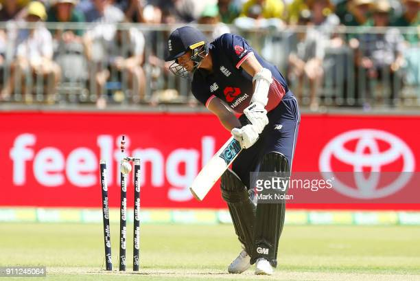 Jake Ball of England is bowled during game five of the One Day International match between Australia and England at Perth Stadium on January 28 2018...