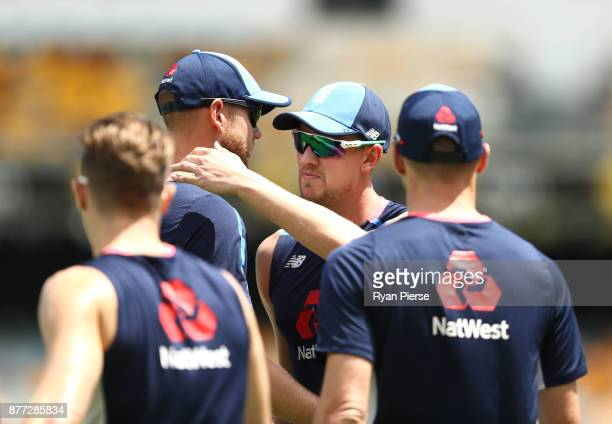 Jake Ball of England is congatulated by Stuart Broad of England during an England nets session at The Gabba on November 22 2017 in Brisbane Australia