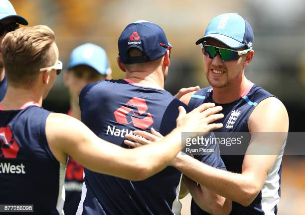 Jake Ball of England is congatulated by team mates during an England nets session at The Gabba on November 22 2017 in Brisbane Australia