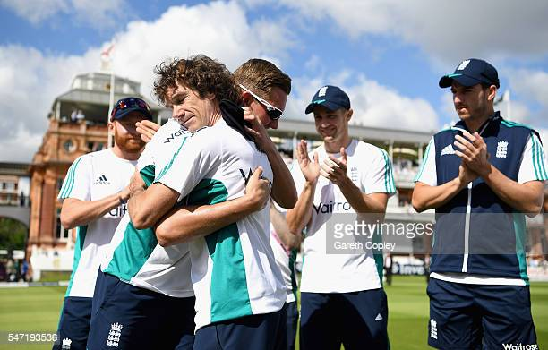 Jake Ball of England is presented with his test cap by Bruce French ahead of the 1st Investec Test between England and Pakistan at Lord's Cricket...