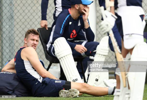 Jake Ball of England looks on during an England nets session at The Gabba on November 21 2017 in Brisbane Australia