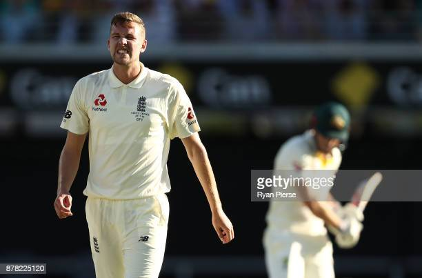 Jake Ball of England reacts while bowling during day two of the First Test Match of the 2017/18 Ashes Series between Australia and England at The...