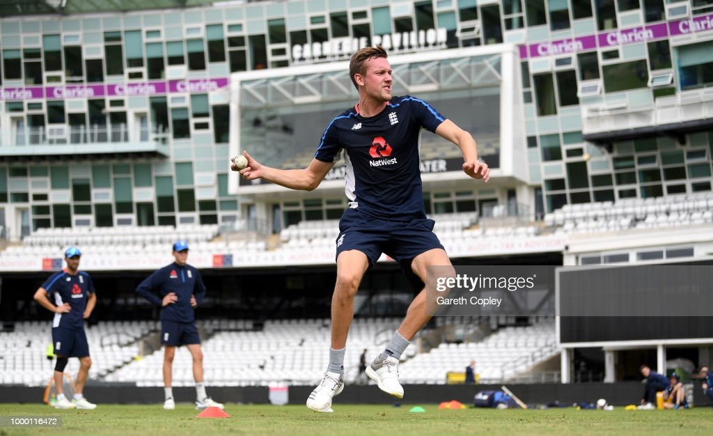 Jake Ball of England takes part in a fielding drill during a net session at Headingley on July 16, 2018 in Leeds, England.