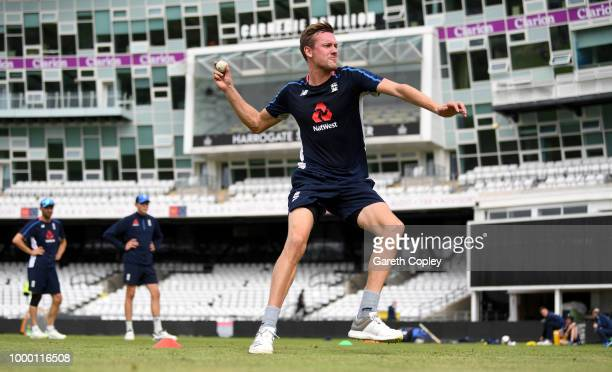 Jake Ball of England takes part in a fielding drill during a net session at Headingley on July 16 2018 in Leeds England