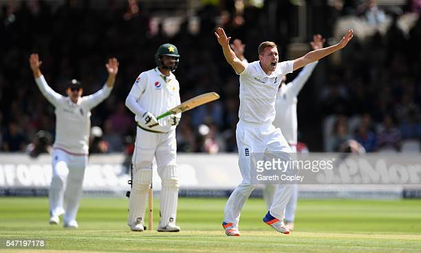 Jake Ball of England unsuccessfully appeals during the 1st Investec Test between England and Pakistan at Lord's Cricket Ground on July 14 2016 in...