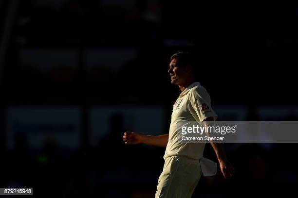 Jake Ball of England watches the ball race to the boundary after his delivery during day four of the First Test Match of the 2017/18 Ashes Series...