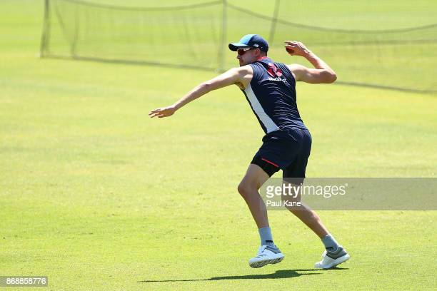 Jake Ball of England worls on a fielding drill during an England nets session at the WACA on November 1 2017 in Perth Australia