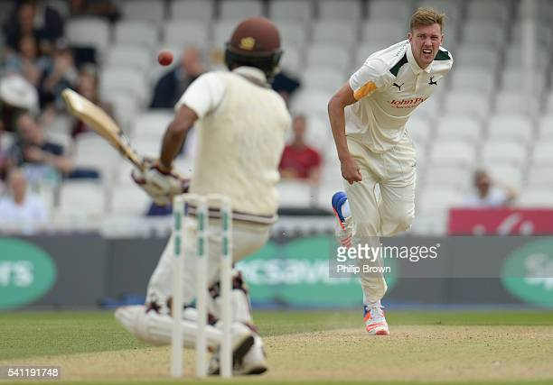 Jake Ball of Nottinghamshire bowls during day one of the Specsavers County Championship Division One match between Surrey and Nottinghamshire at the...