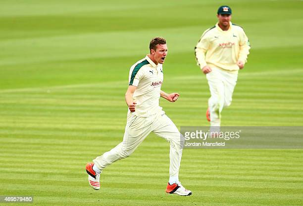 Jake Ball of Nottinghamshire celebrates getting the wicket of Paul Stirling of Middlesex during day two of the LV County Championship Division One...