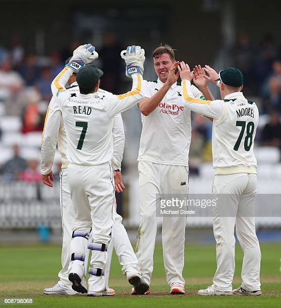 Jake Ball of Nottinghamshire celebrates taking the wicket of Tom Abell of Somerset during day one of the Specsavers County Championship Division One...