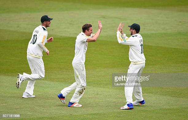 Jake Ball of Nottinghamshire celebrates the wicket of Joe Root of Yorkshire during the Specsavers County Championship Division One match between...