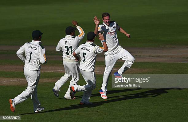 Jake Ball of Nottinghamshire celebrates the wicket of Nick Gubbins of Middlesex during Day 3 of the LV County Championship match between...