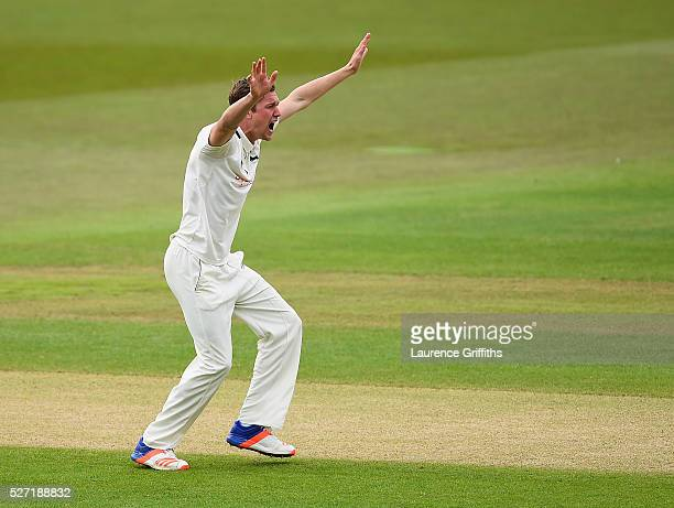 Jake Ball of Nottinghamshire claims the wicket of Adam Lyth of Yorkshire during the Specsavers County Championship Division One match between...