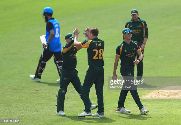 Jake Ball of Nottinghamshire is congratulated after bowling Moeen Ali of Worcestershire during the Royal London OneDay Cup match between...