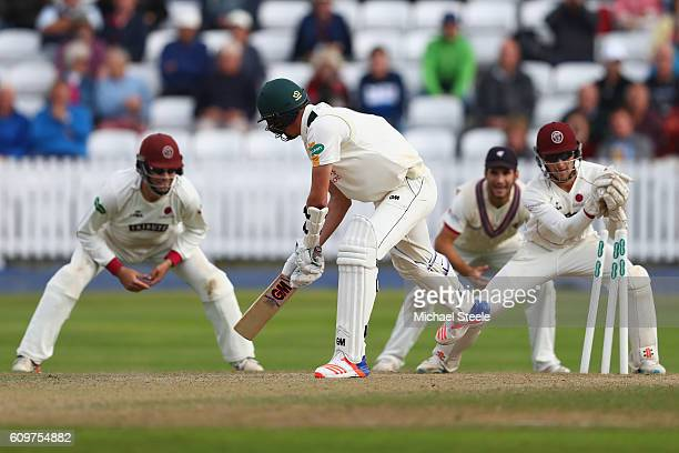 Jake Ball of Nottinghamshire is stumped by Ryan Davies off the bowling of Jack Leach during day three of the Specsavers County Championship Division...