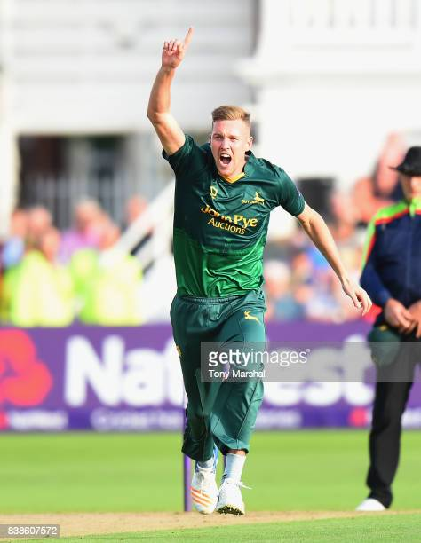 Jake Ball of Nottinghamshire Outlaws bowling out Roelof Van Der Merwe of Someret during the NatWest T20 Blast Quarter Final match between...