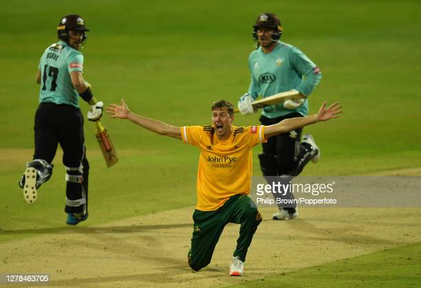 Jake Ball of Notts appeals and dismisses Jason Roy of Surrey lbw during the Vitality T20 Blast Final between Surrey and Notts Outlaws at Edgbaston on...