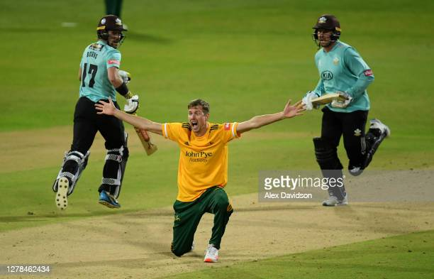 Jake Ball of Notts Outlaws appeals successfully for the wicket of Jason Roy of Surry during the Vitality Blast 20 Final between Surrey and Notts...