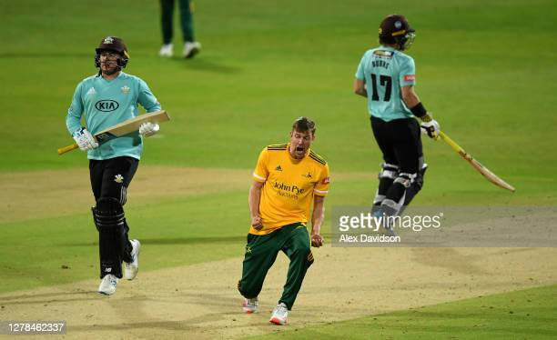 Jake Ball of Notts Outlaws celebrates the wicket of Jason Roy of Surry during the Vitality Blast 20 Final between Surrey and Notts Outlaws at...