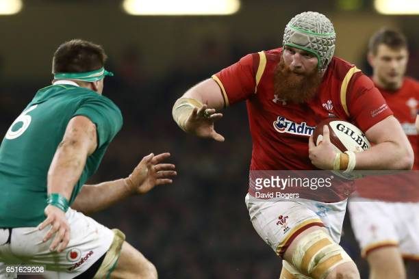 Jake Ball of Wales takes on CJ Stander of Ireland during the Six Nations match between Wales and Ireland at the Principality Stadium on March 10 2017...