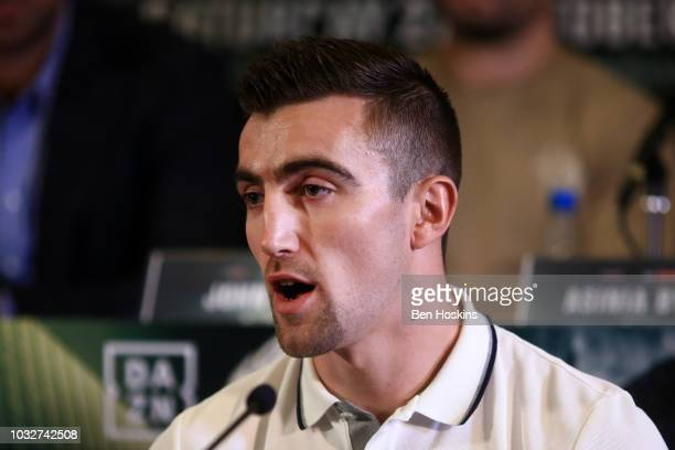 Jake Ball speaks to the media during a press conference with boxing promoter Eddie Hearn at The Courthouse Hotel on September 13 2018 in London...