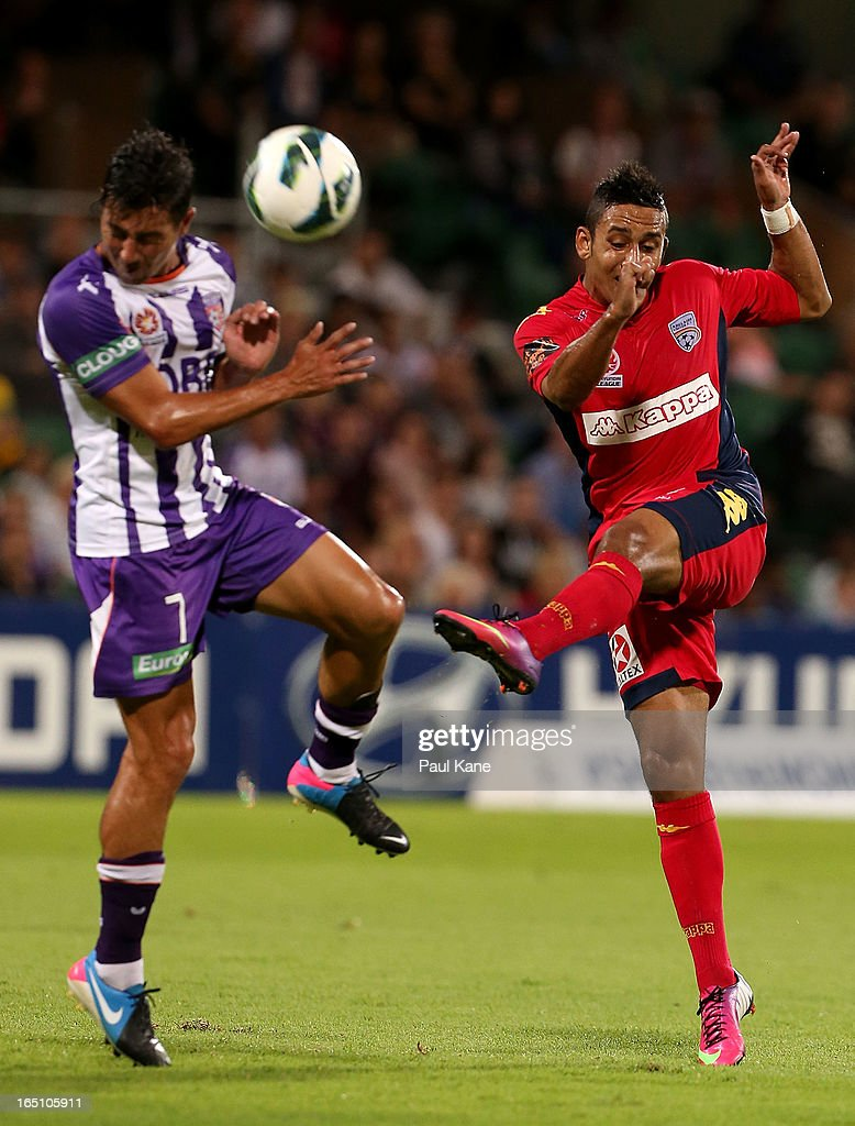 Jake Barker-Daish of Adelaide has a shot on goal during the round twenty seven A-League match between Perth Glory and Adelaide United at nib Stadium on March 30, 2013 in Perth, Australia.