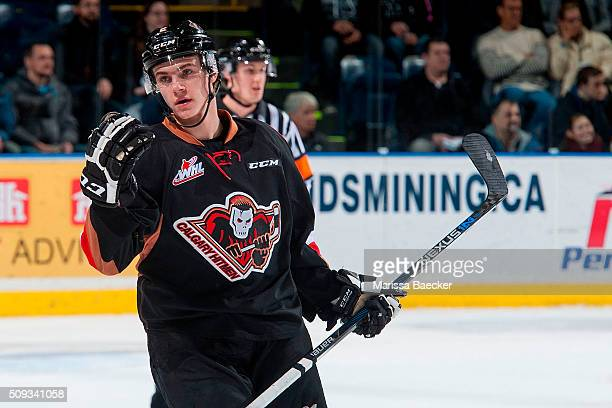 Jake Bean of Calgary Hitmen calls for the change against the Kelowna Rocketson February 6 2016 at Prospera Place in Kelowna British Columbia Canada