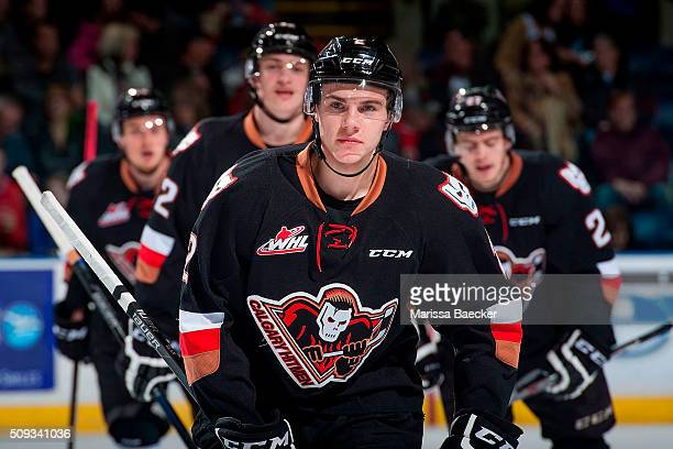 Jake Bean of Calgary Hitmen skates to the bench to celebrate a goal against the Kelowna Rockets on February 6 2016 at Prospera Place in Kelowna...