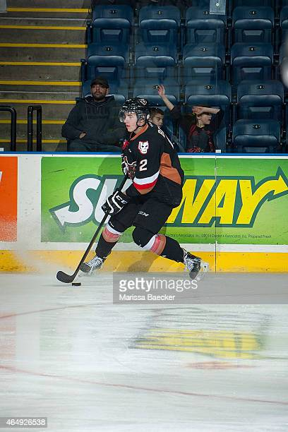 Jake Bean of Calgary Hitmen warms up with the puck against the Kelowna Rockets on February 28 2015 at Prospera Place in Kelowna British Columbia...