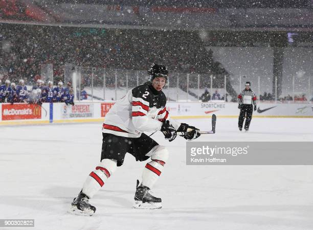 Jake Bean of Canada during the IIHF World Junior Championship at New Era Field against the United States on December 29 2017 in Buffalo New York The...