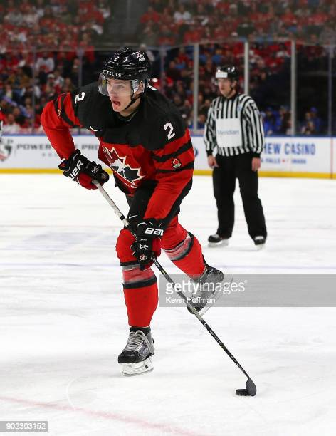 Jake Bean of Canada in play against Sweden during the Gold medal game of the IIHF World Junior Championship at KeyBank Center on January 5 2018 in...