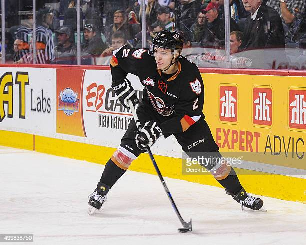 Jake Bean of the Calgary Hitmen skates against the Prince Albert Raiders during a WHL game at Scotiabank Saddledome on December 3 2015 in Calgary...