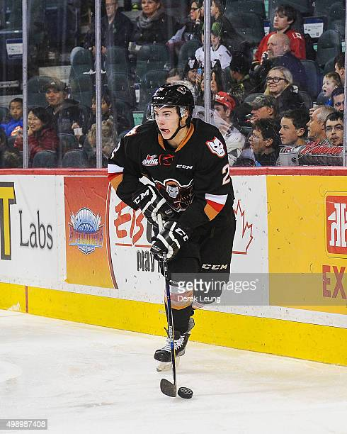 Jake Bean of the Calgary Hitmen skates against the Regina Pats during a WHL game at Scotiabank Saddledome on November 27 2015 in Calgary Alberta...