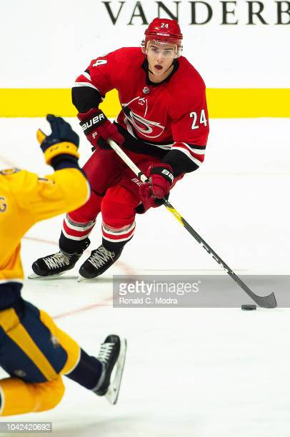 Jake Bean of the Carolina Hurricanes skates against the Nashville Predators during a NHL preseason game at Bridgestone Arena on September 25 2018 in...