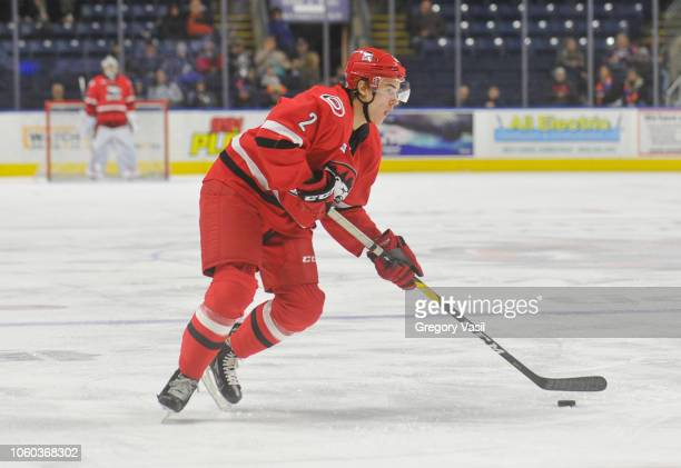Jake Bean of the Charlotte Checkers brings looks to pass during a game against the Bridgeport Sound Tigers at the Webster Bank Arena on November 11...