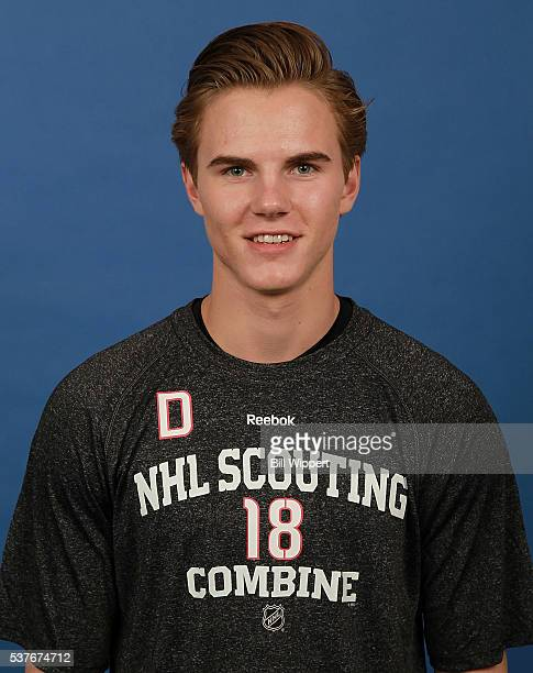 Jake Bean poses for a headshot at the 2016 NHL Combine on June 2 2016 at Harborcenter in Buffalo New York