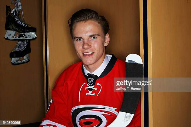 Jake Bean poses for a portrait after being selected 21st overall by the Carolina Hurricanes in round one during the 2016 NHL Draft on June 24 2016 in...