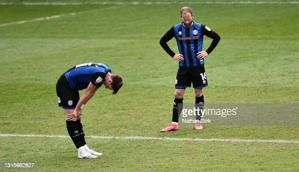 Jake Beesley and Matt Done of Rochdale looks dejected after the Sky Bet League One match between Rochdale and Doncaster Rovers at Crown Oil Arena on...